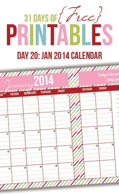 January 2014 Calendar Printable (Day 20)