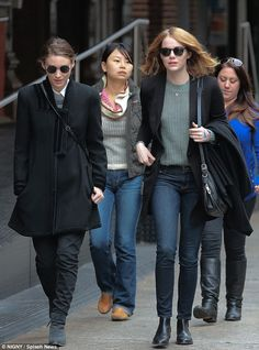 Secret gal pals? Oscar-nominated duo Rooney Mara and Emma Stone bundled up in grey jumpers and black woolen coats for a stroll through Manhattan together on Wednesday