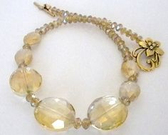 Crystal Necklace in Yellow Gold -Just in time for Mothers Day Crystal Necklace, Beaded Necklace, Beaded Bracelets, Necklaces, Glass Beads, Product Launch, Bling, Pearls, Crystals