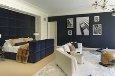 Masculine bedroom in navy, beige and white by Blair Gordon