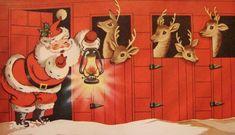 vintage Christmas card, Santa & his reindeer - pumpernickel pixie - Happy New Year 2019 Vintage Greeting Cards, Christmas Greeting Cards, Christmas Greetings, Vintage Postcards, Holiday Cards, Merry Christmas, Christmas Scenes, Christmas Holidays, Christmas Villages