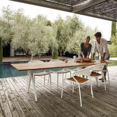 The base of the Split dining tables have a lot of character with an inverted 'Y' structure and tapering form. There are two options for the table tops including slatted teak with a buffed finish or ceramic in a beautiful grey Pumice. The Curve chairs are also new for 2015 - stock of both will be arriving in Spring.  #gloster #coshliving #newarrivals #spring #teaktable #outdoorfurnituredesign #alfresco #styling #curves #comfort #quality