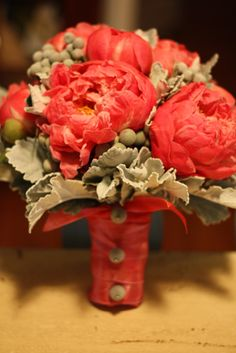 Coral peonies and light sage greenery bouquet