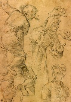 Aurelio Lomi | 1556-1622 | Sheet of Studies, Including a Young Man Climbing a Column a Gesturing Nun, and a Half-Length Male Figure with a Turban | The Morgan Library & Museum