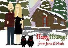 http://cartoonthis.com/products/custom-christmas-card-design #christmascard #cartoonportrait