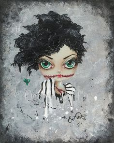 Big Eye Art Print Signed Zombie Art Undead Beauty Queen by Lizzy Love apprx 5x7. $9.99, via Etsy.