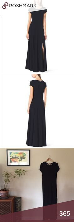 """✨HP✨Michael Kors Black Cap Sleeve Slit Maxi Dress This incredibly comfy dress is 95% rayon and 5% spandex. 59"""" long, 23"""" slit, 17"""" bust laying flat. EUC.    Ships from Hawaii 🌺 No trades 😇 Reasonable offers welcome 👍🏻 Bundle & save 💰 Michael Kors Dresses"""