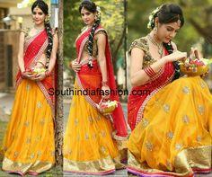 Diksha Panth in Bhargavi Kunam Half Saree – South India Fashion Lehenga Choli Designs, Ghagra Choli, Half Saree Lehenga, Lehnga Dress, Anarkali, Party Wear Lehenga, Bridal Lehenga, Half Saree Designs, Blouse Designs
