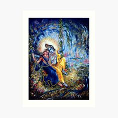 'Krishna Leela' Art Print by Harsh Malik Josephine Wall, Full Moon In Aries, African American Models, Krishna Leela, Aries Love, Thing 1, Poster Prints, Art Prints, Wood Print