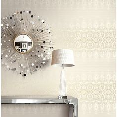 Seabrook Wallpaper - Carl Robinson - Filigree stripe design wallcovering in a detail room photo Wallpapering Tips, Classic Wallpaper, Wall Lights, Ceiling Lights, Filigree Design, Stripes Design, Wood Paneling, Pattern Wallpaper, Decorative Accessories