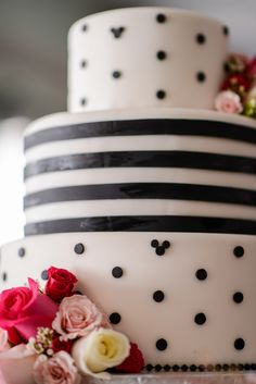 Hidden Mickeys dot this patterned, black and white wedding cake