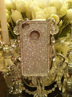 Silver sparkle and Rhinestone IPhone 4 by GlitzGlamourandBling, $10.00
