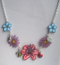 Shrink plastic 'Flower Garden' necklace.