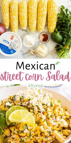 Enjoy this healthy version of Mexican Street Corn Salad (aka Elote corn salad), where flavorful corn is tossed with a light yogurt-mayo lime and cilantro dressing and sprinkled with feta cheese. Low Carb Dinner Recipes, Easy Appetizer Recipes, Healthy Appetizers, Healthy Salads, Clean Eating Recipes, Mexican Street Corn Salad, Healthy Brunch, Corn Salads, Healthy Family Meals