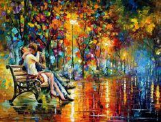 """""""Beijo depois da chuva"""", pintura de 1994 de Leonid Afremov. Veja também: http://semioticas1.blogspot.com.br/2013/06/silencio-de-hopper.html ."""