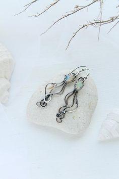 Fire opal silver earrings for Mermaid - Anniversary gift for women Wedding earrings - Bohemian style jewelry