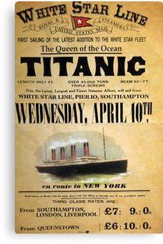 RMS Titanic - White Star Line - Trans-Atlantic Crossing - Vintage Advertising Poster - Departing April 1912 Rms Titanic, Titanic History, Titanic Prom, Ancient History, Vintage Signs, Vintage Ads, Retro Ads, Vintage Menu, Titanic Poster
