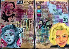 Finding inspiration from traditional pop art techniques to compose a final structure for Marilyn Monroe. This is page allowed me to also look at different aspects within pop art and use combined colours to create a visual large-scale. A-level Kunst, Artist Research Page, Gcse Art Sketchbook, A Level Art Sketchbook Layout, A Level Textiles Sketchbook, Photography Sketchbook, Sketchbook Inspiration, Sketchbook Ideas, Art Folder