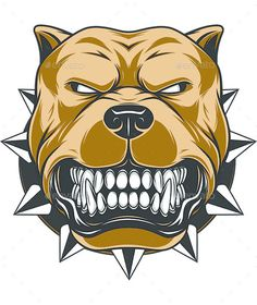 Angry Dog by Vector illustration Angry pitbull mascot head. Vector graphics Install any size without loss of quality. ZIP archive contains: Pitbull Tattoo, Pitbull Drawing, Art And Illustration, Tatouage Pit Bull, Perros Pit Bull, Logo Animal, Pitbulls, Dogs Pitbull, Dog Vector