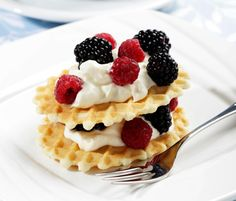 Put a few dollops of Greek yogurt on waffles and pancakes instead of syrup. #healthy #breakfast