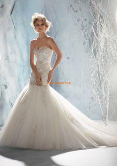 Robe de mariée sirène tulle dentelle col en coeur