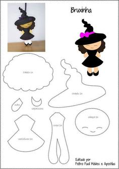 She spends a long period of time playing with the sandwich. There are a bunch of fun food ideas with felt and velcro. Fabric Doll Pattern, Fabric Dolls, Paper Dolls, Moldes Halloween, Halloween Crafts, Felt Crafts Patterns, Felt Doll Patterns, Felt Templates, Felt Books