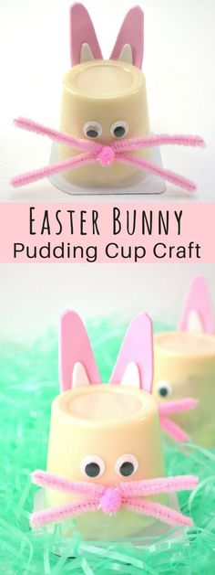 A cute, simple, affordable Easter craft for Kids! These Easter bunny pudding cups make a fun non-candy Easter treat for the kids, or you can make them with the kids as a fun Easter activity. crafts bible Easter Bunny Pudding Cups for Kids Easter Snacks, Easter Candy, Easter Desserts, Easter Class Treats, Easter Recipes, Easter Food, Easter Table, Easter Eggs, Easter Activities For Kids