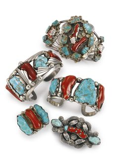 Group of Silver, Coral and Turquoise Jewelry by Dan Simplicio, Zuni | Lot | Sotheby's