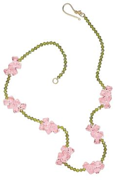 Single-Strand Necklace with Light Rose and Olivine Swarovski® Crystal Beads - Fire Mountain Gems and Beads