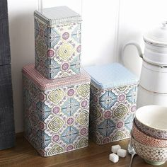 Set of Three Square Graphis Storage Tins