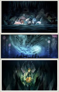 Beautiful Concept Art from the Academy Award Nominated Animation Studio Cartoon Saloon for the upcoming film Song of the Sea. Artwork by Art Director Adrien Merigeau – rough layouts by Tomm Moore and character designs by Tomm Moore and Marie Thorhauge.