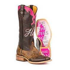 """This boot features stay strong sole with breast cancer top. Handmade. Double welt, walking heel, cushioned insole and square toe. All leather heel with leather lining. 13"""" H."""
