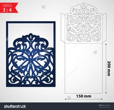 Luxury laser cut wedding invitation envelope template. Die cut sleeve envelope mockup for greeting cards. Cutout paper design for cutting machines.
