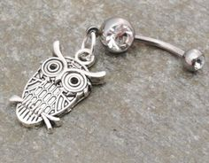Owl Belly Button Ring Silver Navel Ring Jewelry Piercing