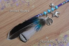 Twisted Bluebell feathered hair wrap, hair braid, boho - sky blue, navy, purple, mint, silver - Elephant, Tree of Life & Turtle charms by SunshineArtists on Etsy
