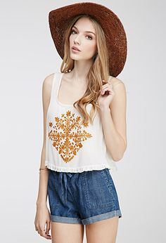 Embroidered Gauze Ruffle Top | FOREVER21 - 2049258879