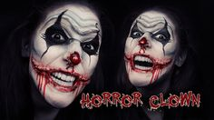 ♥ Horror Clown ♥ Makeup / Face Painting Tutorial Halloween Great scary creepy easy clown makeup tutorial for upcomming halloween. How to face paint Products:. Scary Face Paint, Scary Clown Face, Clown Face Paint, Clown Faces, Scary Faces, Scary Clowns, Easy Clown Makeup, Clown Makeup Tutorial, Creepy Makeup