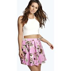 Boohoo Nelly Bold Floral Box Pleat Skater Skirt ($8) ❤ liked on Polyvore featuring skirts, floral skater skirt, knee length a line skirt, maxi skirt, floral a line skirt and floral skirt