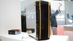 In Win strikes again at CES with another great chasis, this one was built to celebrate their 30th anniversary and it's a familiar refresh called the H-Frame 2.0. This gold colored case is an open air chassis constructed from several aluminum plates that are sandwiched vertically to give support to t…