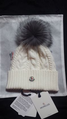159d2365f5a Womens hat Moncler cable knit beanie with Genuine silver Fox Fur Pom   fashion  clothing