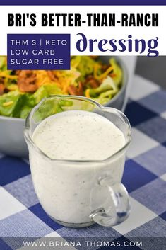If you're looking for a deliciously easy homemade salad dressing recipe, Bri's Better-Than-Ranch Dressing is just what you need! It's far more flavorful than storebought [. Trim Healthy Recipes, Trim Healthy Momma, Thm Recipes, Cream Recipes, Drink Recipes, Keto Sauces, Low Carb Sauces, Low Carb Salad Dressing, Coleslaw Dressing