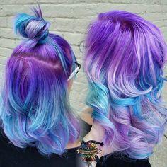 #hairstyle #gradient #degradê #pastel #candycolors #lilac #lilás #blue #azul #acqua #cabelofantasia