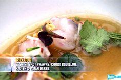 Sheldon Simeon's Sashimi Spot Prawns, Court Bouillon, Radish & Asian Herbs