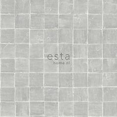148317 krijtverf eco texture vliesbehang tegelmotief glanzend grijs