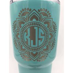 Mandala Monogram Yeti Laser Engraved With Your Initials Not a Decal... ($42) ❤ liked on Polyvore featuring home, kitchen & dining, drinkware, drink & barware, home & living, pink, tumblers & water glasses, pink tumbler, colored tumblers and colored water glasses Engraving Ideas, Laser Engraving, Drinkware, Barware, Laser Engraved Gifts, Light Of My Life, Carriage House, Tumblers, Plus Size Fashion