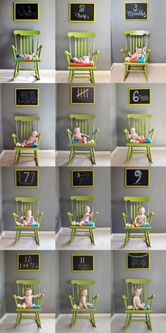 Monthly photos of baby. Love this adorable idea to track babies growth! 12 months of photos of your newborn. Baby Kind, Baby Love, Baby Baby, Baby Birth, Baby Monat Für Monat, Foto Baby, Do It Yourself Projects, Everything Baby, Baby Month By Month