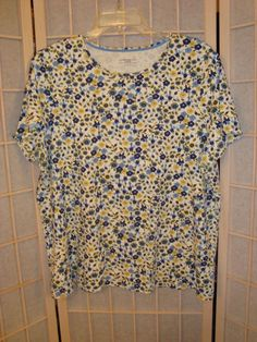 Charter Club Sz 2X Blue & Yellow Floral 100% Pima Cotton Knit Top #CharterClub #KnitTop