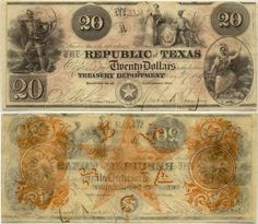 Obsolete bank note & private scrip issued by State ~ Texas