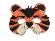 Children's TIGER Felt Safari Jungle Animal Mask by magicalattic