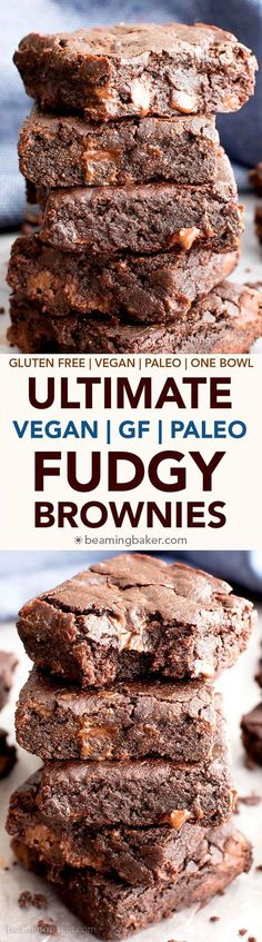 Ultimate Fudgy Paleo Vegan Brownies (V, GF, DF): an easy, one bowl recipe for seriously fudgy, super moist paleo brownies bursting with rich chocolate flavor. #Vegan #GlutenFree #DairyFree   BeamingBaker.com